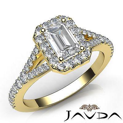 Halo U Cut Pave Split Shank Emerald Cut Diamond Engagement Ring GIA H VVS2 1 Ct