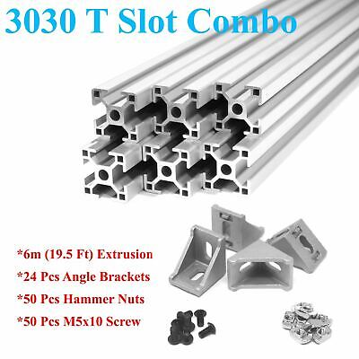 3030 T-slot 30mm Aluminum Extrusion Kit 6x 1m  Angle Brackets Screws Nuts