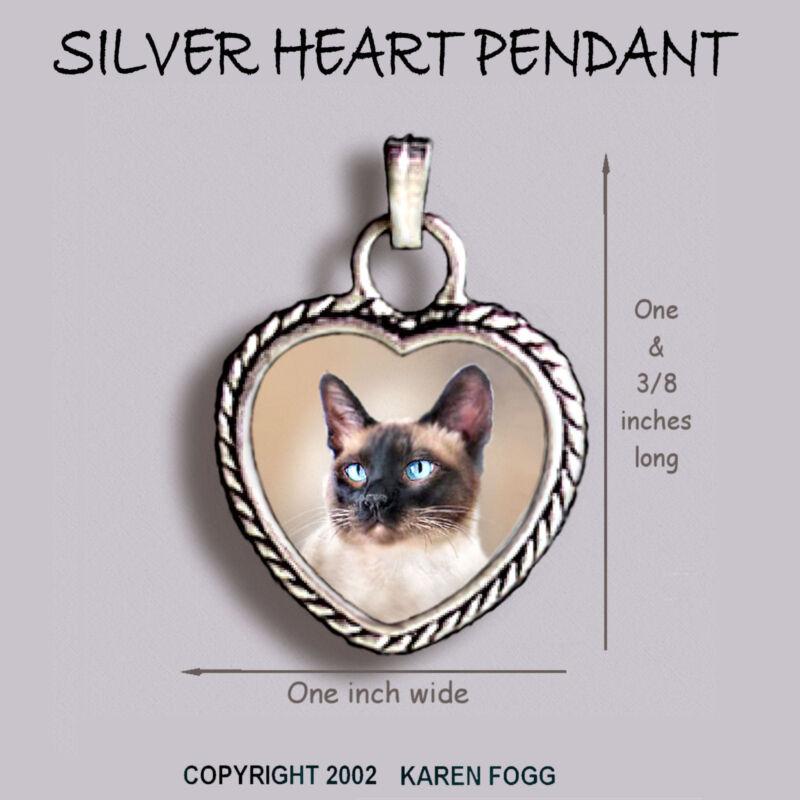 SIAMESE Cat - Ornate HEART PENDANT Tibetan Silver