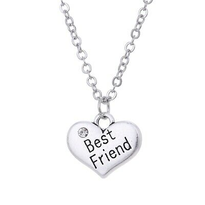 Best Friend Heart Pendant Necklace Crystal Silver Tone Jewelry for Women (Best Tones For Girls)