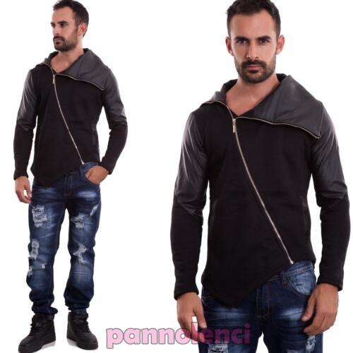 Felpa uomo giacca zip maniche lunghe casual nera giubbotto giubbino nuova A15691