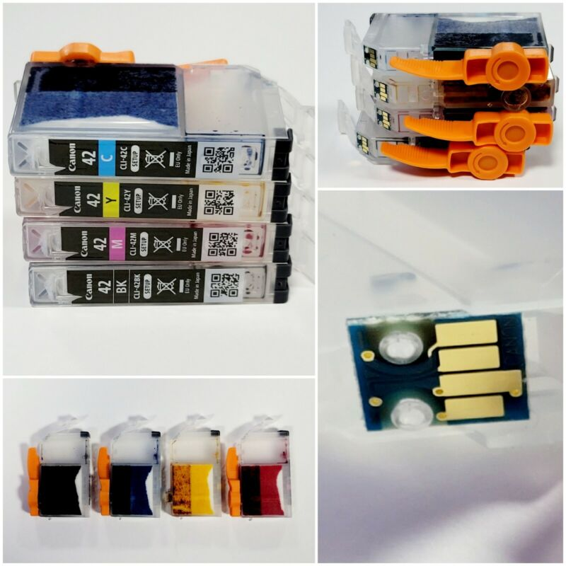 Four Pack Genuine Canon CLI-42 Ink Cartridges Empty With Chips