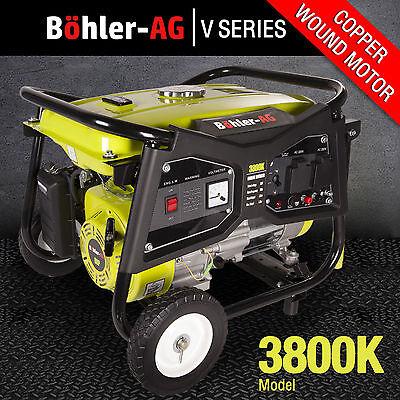 Petrol Generator 3000w 3.8 KVA 4 Stroke UK 8HP 3800K Portable Bohler Easy Start