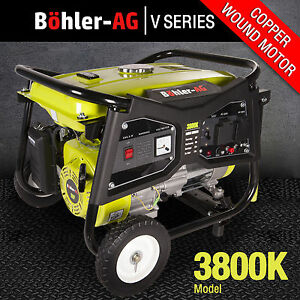 Generator 3000w, 3.8KVA 4 Stroke Petrol, UK Plug sockets, 8HP Great Spec WX3800K