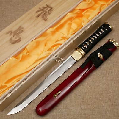 Musashi Asuka Hand Forged Samurai Shirasaya Tanto Sword Sharp Blade w/ Wood Case