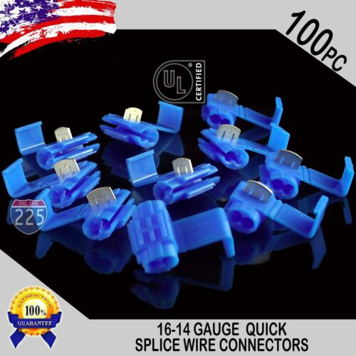 100 Pack 16-14 Gauge Blue Quick Splice Tap Wire Connectors Install Terminals UL