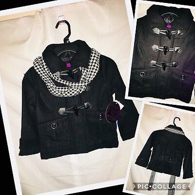 Little Girls Outerwear (Adorable Little Girls Black Wool Dress Coat Jacket Size 4 NWT Stylish Outerwear)