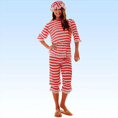 20er Jahre Badeanzug (Damen Retro Badeanzug Größe XL 20-er Jahre Ringelmuster Streifen Badesachen)