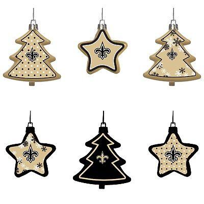 New Orleans Saints Shatterproof TREES & STARS Christmas Tree Ornaments 6 pack - New Orleans Saints Christmas Ornaments