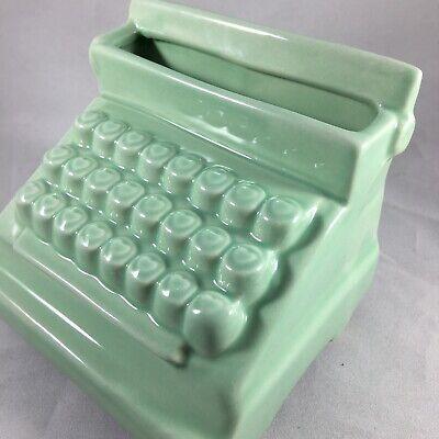 Retro Business Card Holder Display Stand For Desk Mint Green Ceramic Typewriter