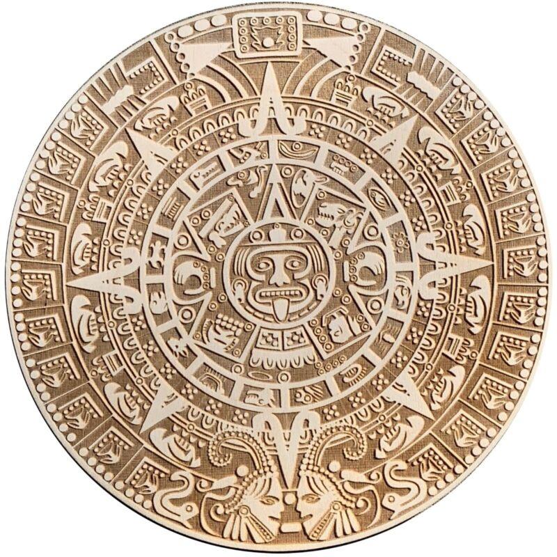 Aztec Calendar Laser Engraved On Baltic Birch Wood! Mexican Art! 13x13 inch.