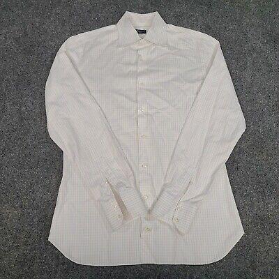 Finamore 1925 Napoli Men's Dress Shirt White Blue Red Stripes Size L