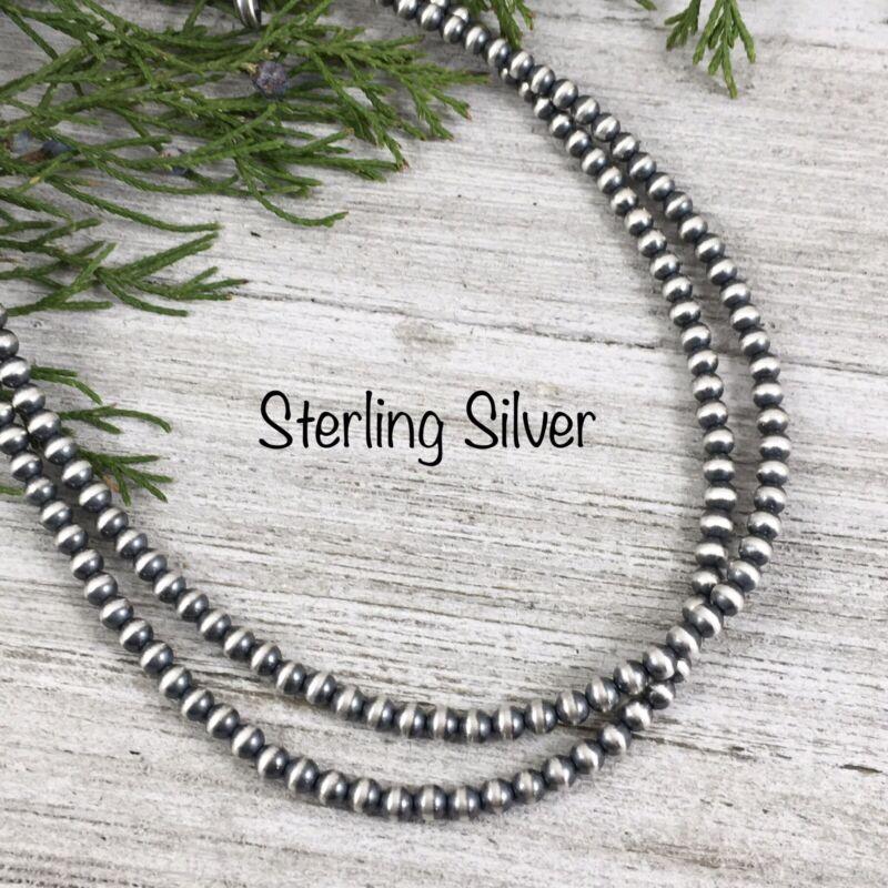 4mm Sterling Silver Navajo Pearls Bead Necklace boho choker southwest