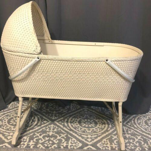 1935 Vintage Woven Quality Bassinette Basket Bassinet Plastic Wheels
