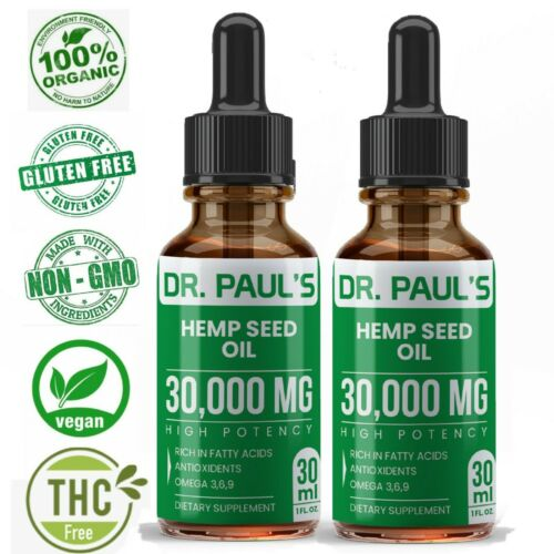 2 Pack Hemp Oil Drops For Pain Relief, Stress , Anxiety, Sleep - 30,000 mg
