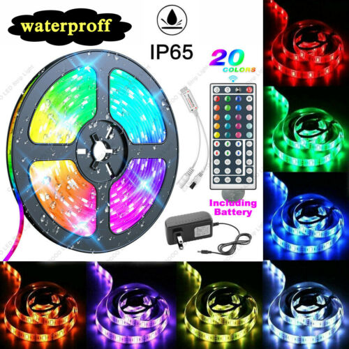 "Waterproof 5M LED Strip Light RGB ""5050"" SMD Light Tape Full Kit Indoor Outdoor Home & Garden"