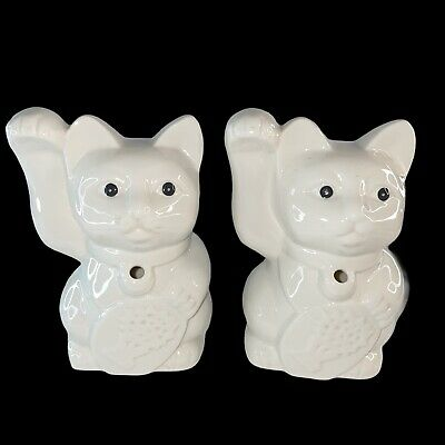 "Benihana Set 2 Collectible Tiki Mug Planter Maneki Neko Lucky Cat 6.5""T 2""W Hole"