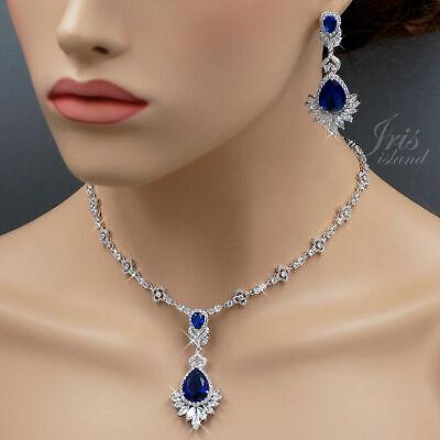 Gold Sapphire Set (18K White Gold GP Sapphire Zirconia CZ Necklace Earrings Wedding Jewelry Set)