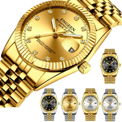 Men's Watch Relojes De Hombre Gold Stainless Classic Small Dial Steel Quartz US Jewelry & Watches