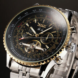 Jaragar Golden Self-winding Auto Mechanical Steel Mens Date Display Wrist Watch