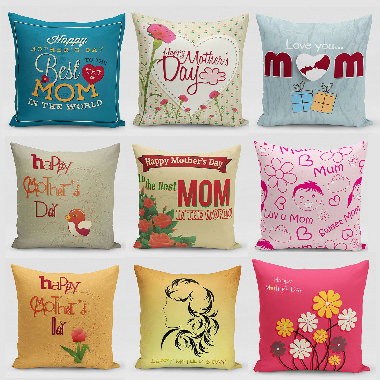 d0878e37677 Details about Flower-tongue of Mother's Day Couch Pillow Cases for sofa  Cushion Cover Mom Gift