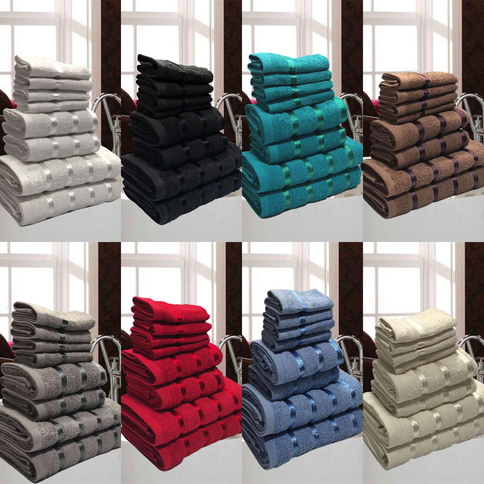 Set 8 Asciugamani da Bagno Spugna Cotone Egiziano Idea Regalo Telo Viso Doccia