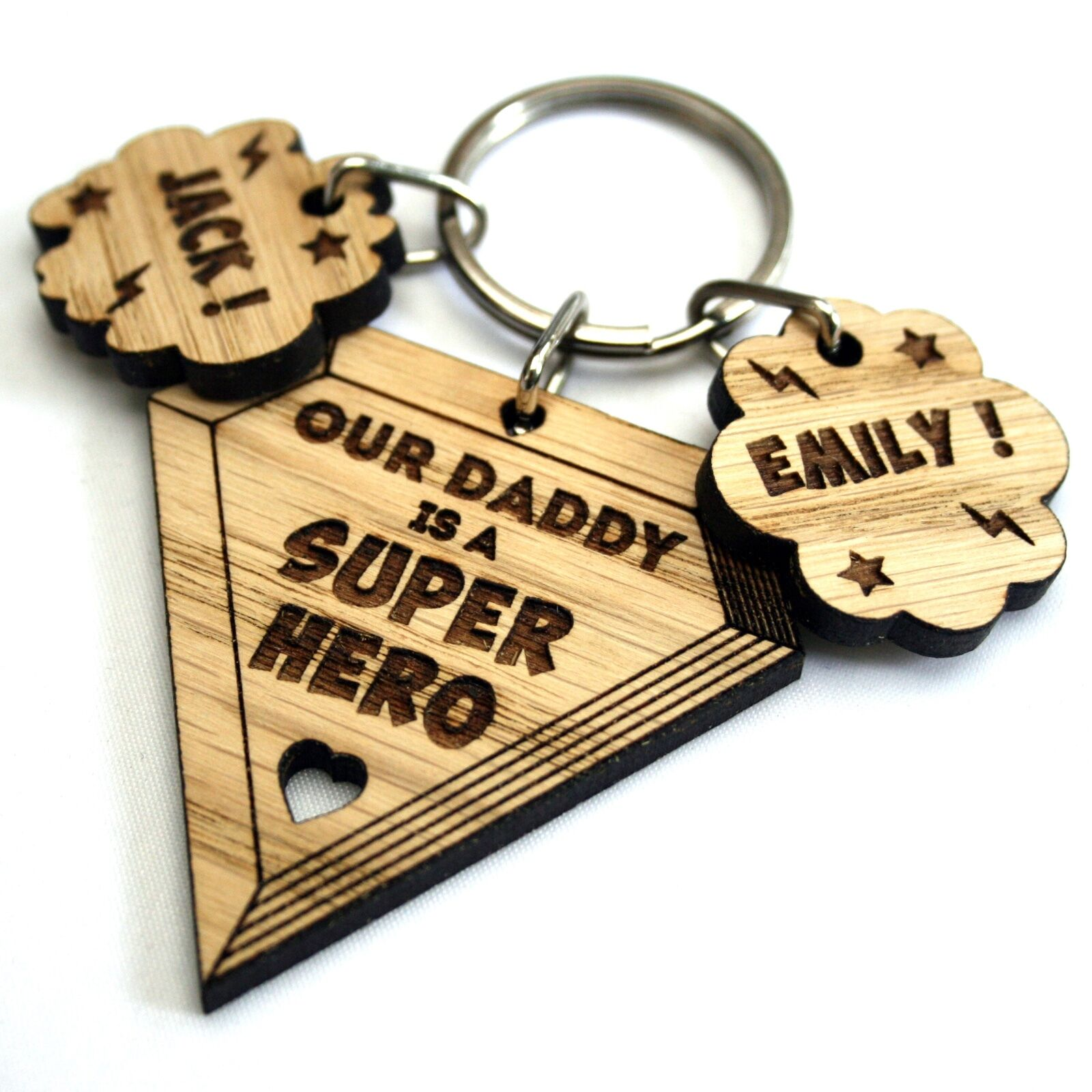 Details About Personalised Fathers Day Gift Superhero Oak Keyring Daddy Dad Grandpa Grandad