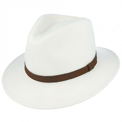 Crushable White 100%Wool Felt Trilby Fedora Hat With Leather Type Band (White Felt Fedora)