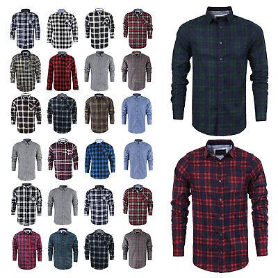 - Mens Long Sleeve Shirt Brave Soul Brushed Cotton Flannel Check Lumberjack S-XL