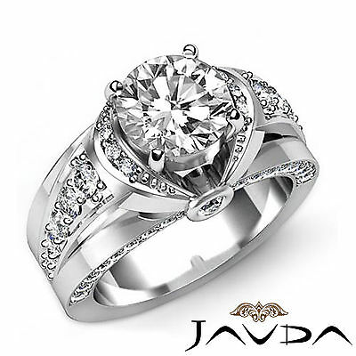 Knot Style Bridge Accent Round Diamond Engagement Bezel Set Ring GIA I VS2 1.9Ct