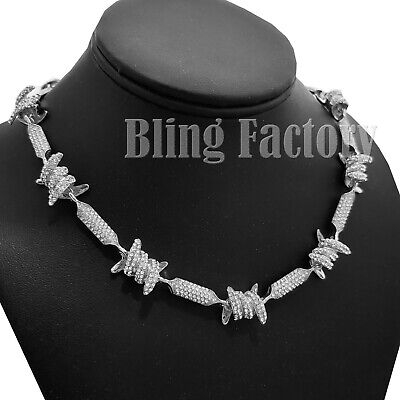"Hip Hop Unisex Fashion Silver plated Iced Barbed Wire 18"" 20"" 24"" Chain Necklace"