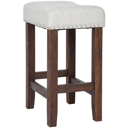 2 X Nailhead Wood Pub-Height Kitchen Counter Bar Stool Backless 24″ Beige Brown Benches, Stools & Bar Stools