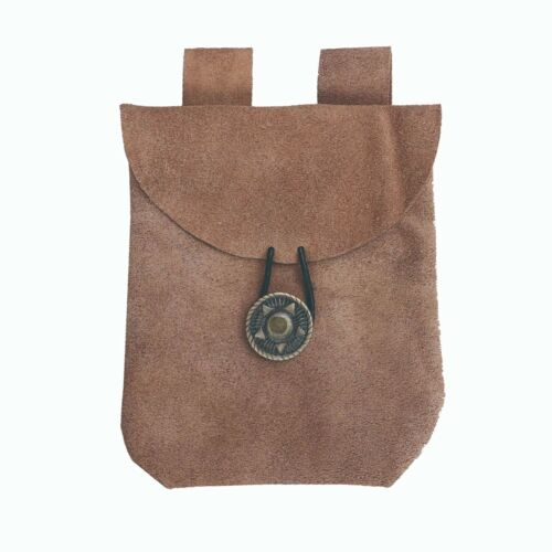 Medieval Renaissance Leather LIght Brown Suede Coin Belt Pouch