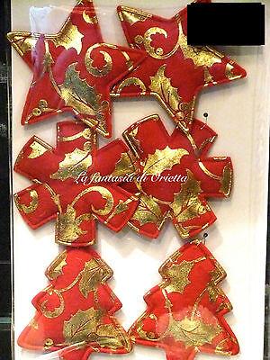 Addobbo NATALE set 6 DECORI NATALIZI in panno rosso e oro da appendere - 1014-R
