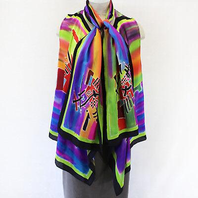 New Dilemma Plus Kandinsky Inspired 100  Silk Vest   Scarf Set Os Fits Xl 1X 2X