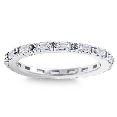 Simulated Diamond Baguette White Gold Plate Sterling Silver Eternity Ring