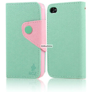 iPod touch 4 / 4th Gen Wallet style side flip case with Card slots - Mint / Pink