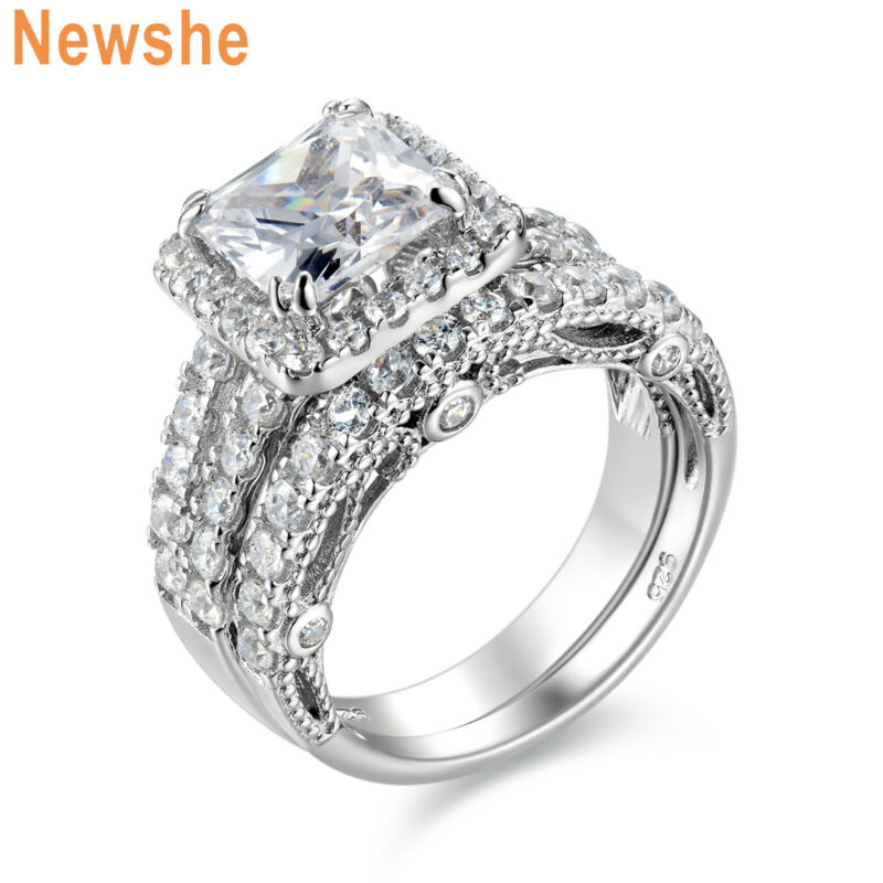 Newshe 4ct Engagement Ring For Women Sterling Silver Cubic Zirconia Wedding Set