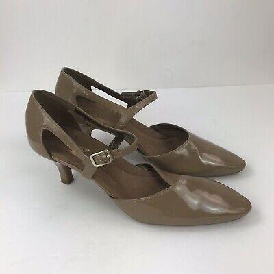 AEROSOLES Heelrest Beige Nude Patent Leather Pointed Toe Low Heel Pumps Sz 11