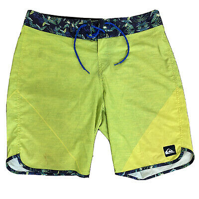 Quiksilver DryFlight Board Shorts Bathing Suit Yellow Green 19