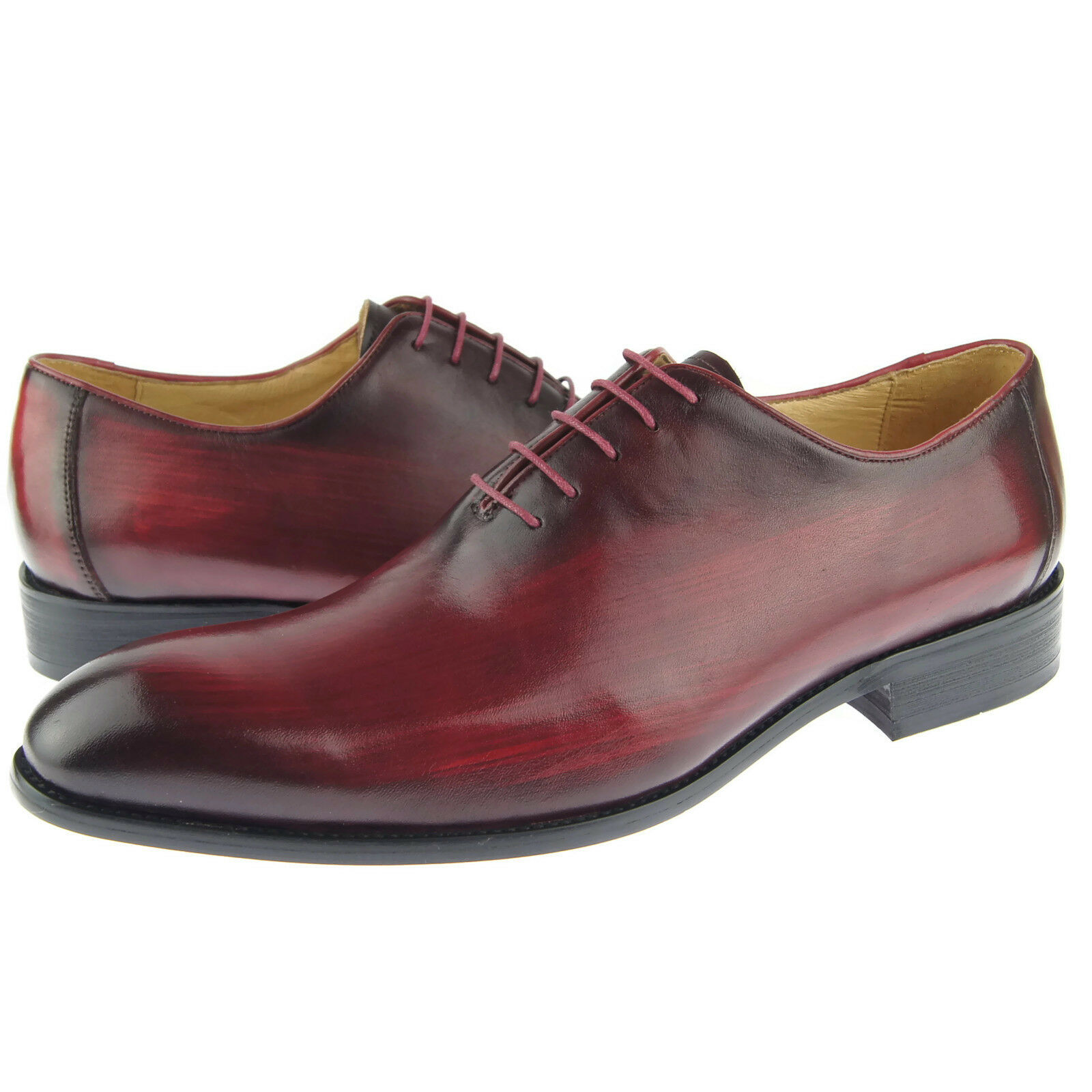 Carrucci Plain Toe Wholecut Oxford, Men's Dress Leather Shoes, Burgundy