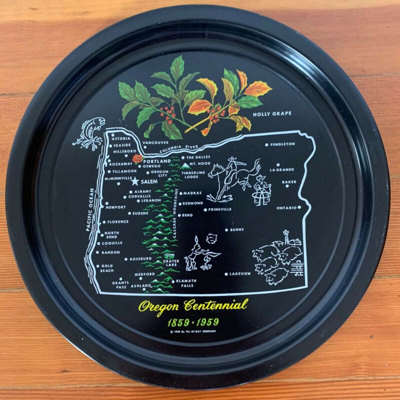 """Vintage By-Day Co. 1958 Oregon Centennial Round Metal Serving Tray 12"""" Black"""
