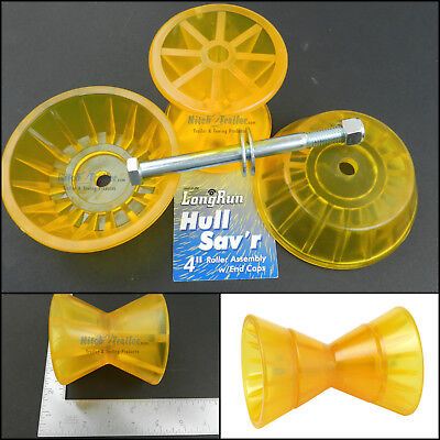 (Tie down Boat Trailer Amber/Yellow Poly Bow Roller w/End Bells 4