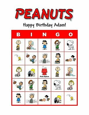 Peanuts Snoopy Charlie Brown Birthday Party Game Bingo - Charlie Brown Birthday