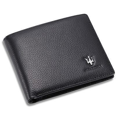 new Maserati Black Bifold Wallet Genuine Calfskin Leather with 6 Credit Card Men