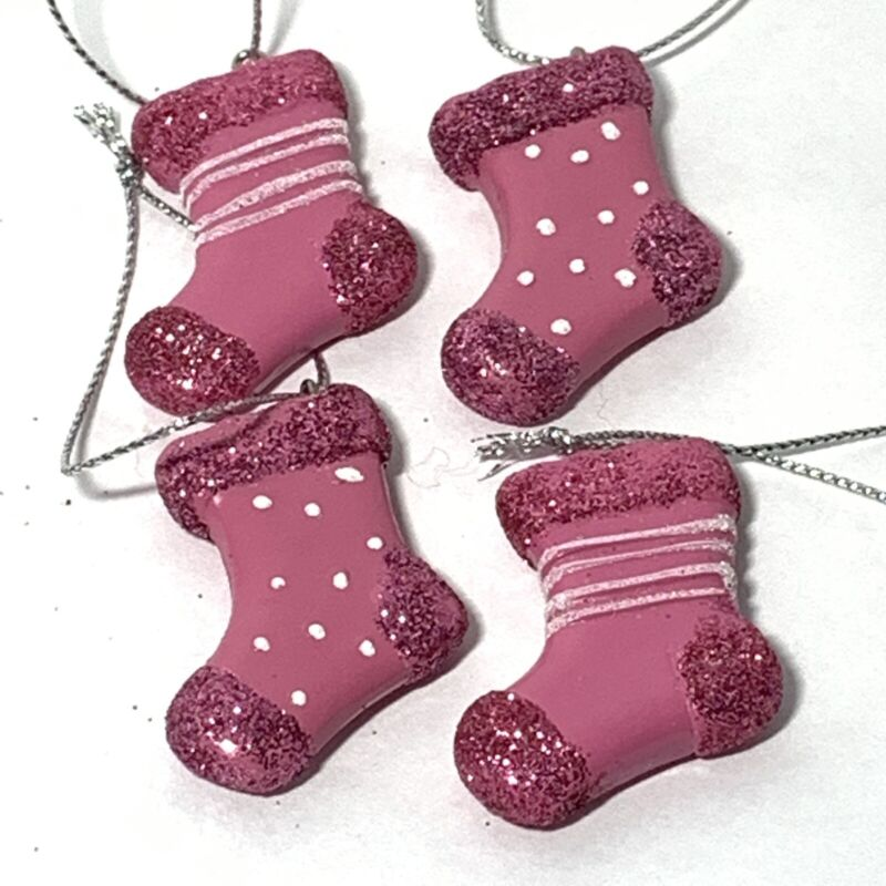 4 Pc Small PINK STOCKING Christmas Ornaments CHARMS Glitter WHITE Polka Dot