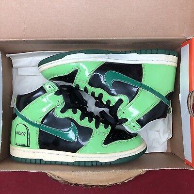 Nike SB Dunk High Premium Halloween Green Black SZ 4.5y 318633 012 Jordan Grave - Halloween Jordans