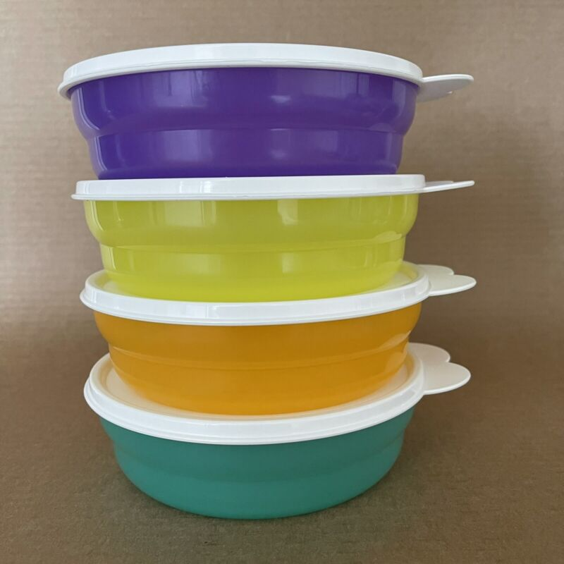 Tupperware Microwave Cereal Bowls (Set of 4) 2 Cup #2415 Multicolor New