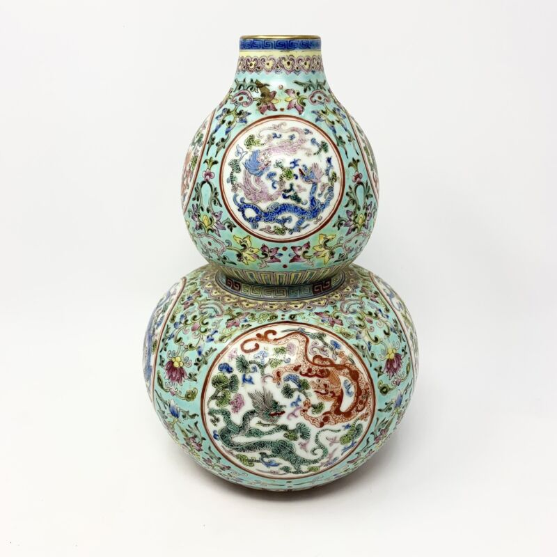 Antique Chinese Famille Rose Turquoise Ground  Double Dragon Gourd Vase Qianlong
