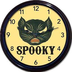 Spooky black cat wall clock animal scary cat kitten feline Halloween New 10